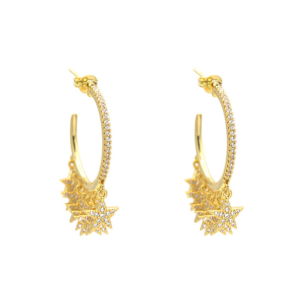 Gold Cz Star Hoop Earring