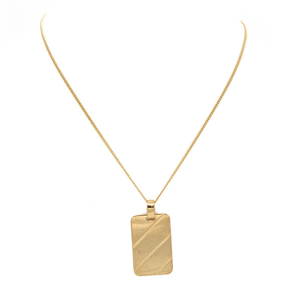 Gold Filled Linked Chain Necklace w/ Rectangular Pendant