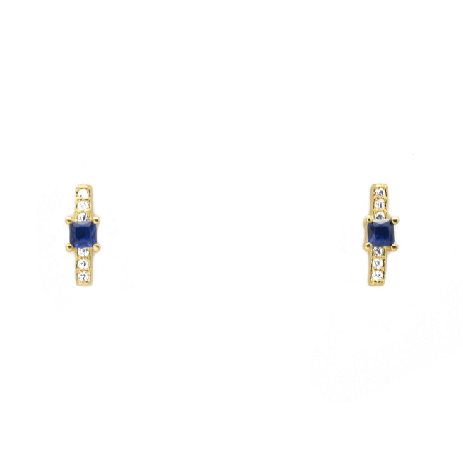 Gold Cubic Zirconia Bar Stud Earring