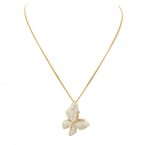 Gold Cz Butterfly Pendant Necklace