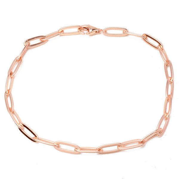 Sterling Silver Rose Gold Plated Linked Bracelet