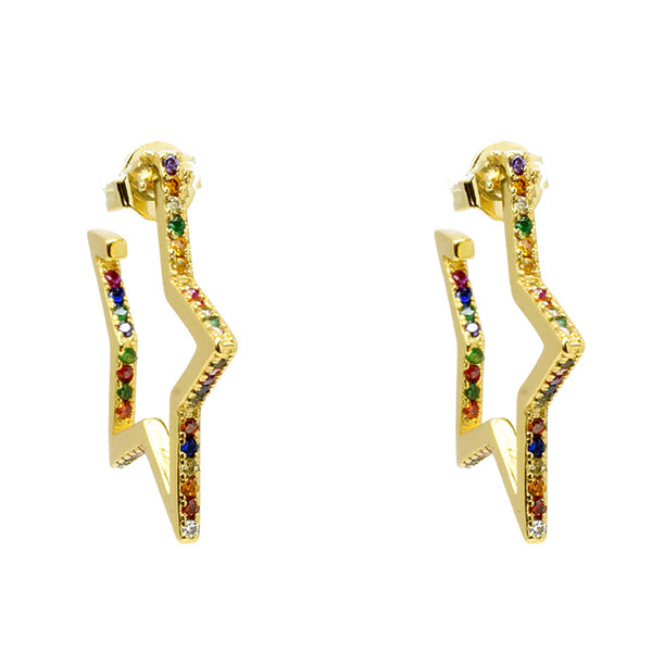 Gold Multi Color Cubic Zirconia Star Dangle Earrings