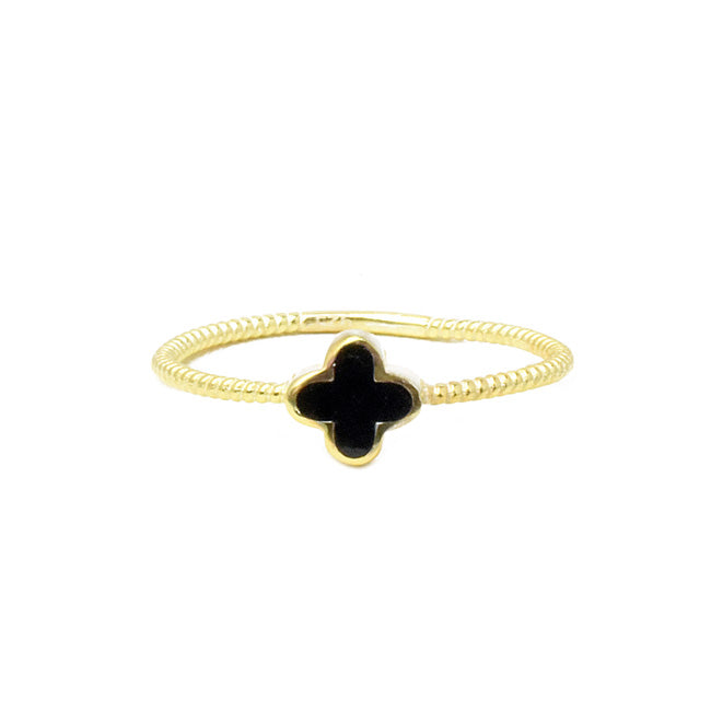 Sterling Silver Gold Plated Black Onyx Clover Ring