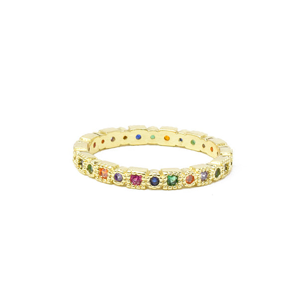 Gold Multi Color Cubic Zirconia Band Ring