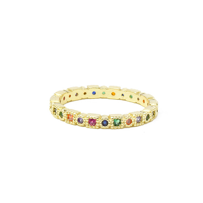gold plated cz band ring