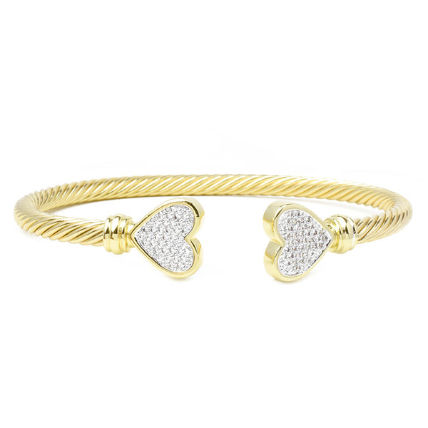 Gold Twisted Cable Cubic Zirconia Micro Pave Cuff Bracelet