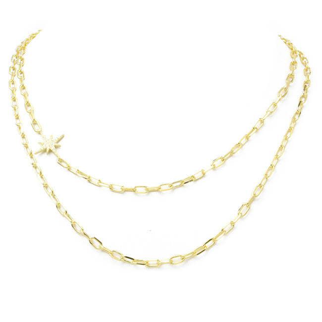 Gold Linked Chain Layered Necklace with Cubic Zirconia Starburst Station