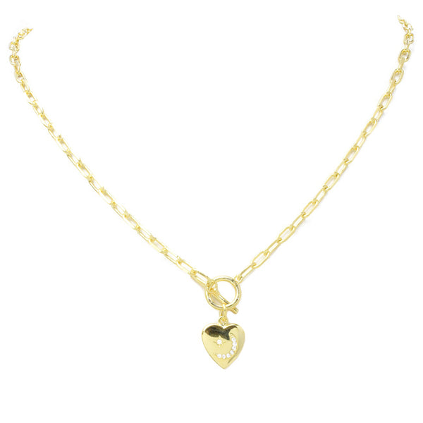 Gold Cubic Zirconia Heart & Moon Linked Pendant Necklace