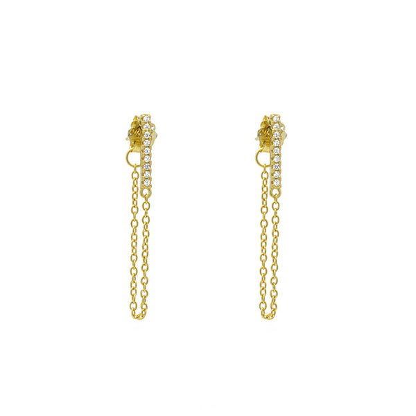 Gold Cz Chain Dangle Earring