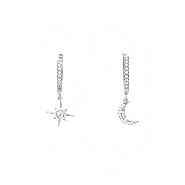 gold cz moon star earring