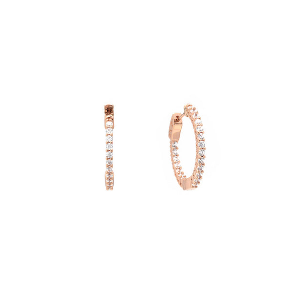 Rose Gold Cz Hoop Earrings