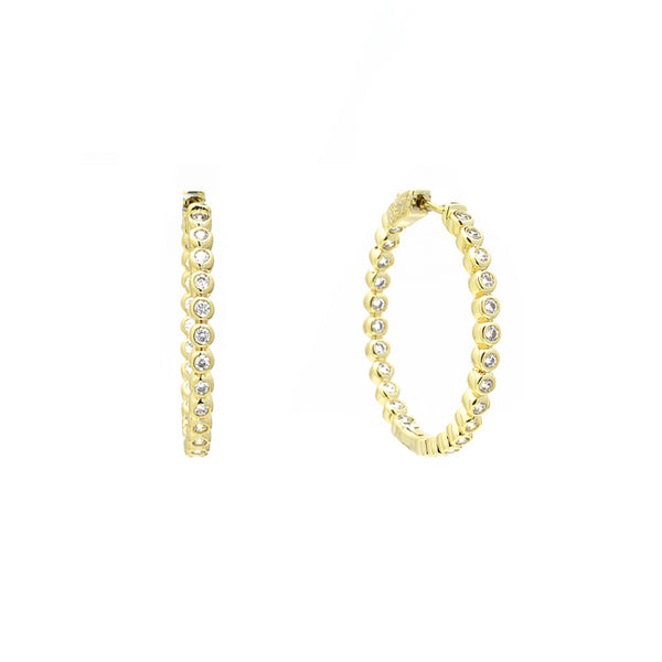 Gold Round CZ Hoop Earrings