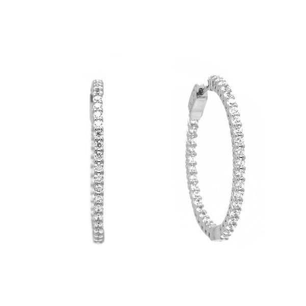 Silver Cubic Zirconia Elegant Hoop Earrings