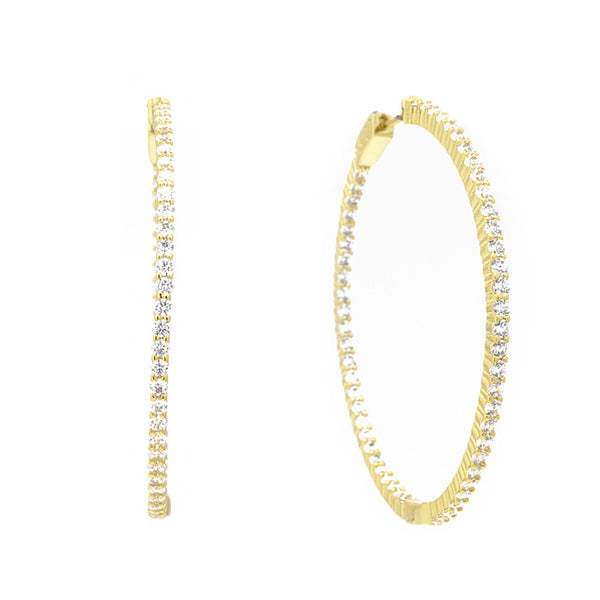 Gold Cz Hoop Earrings