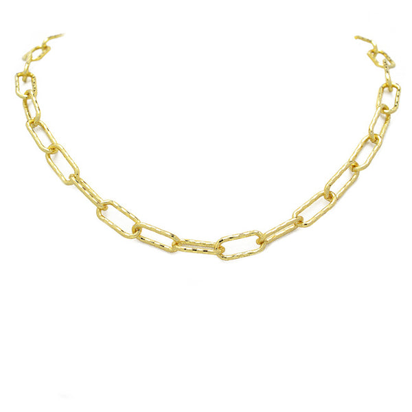 Gold Textured Linked Chain Necklace