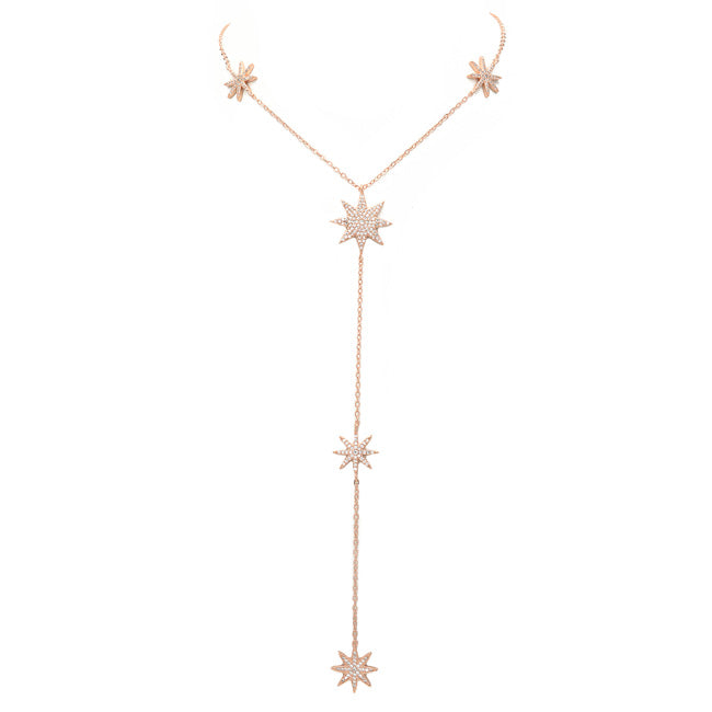 rose gold cz starburst necklace
