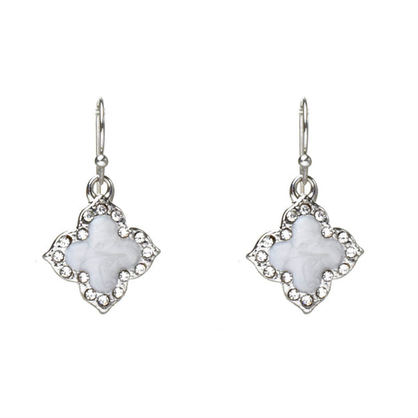Silver Cubic Zirconia Clover Dangle Earrings