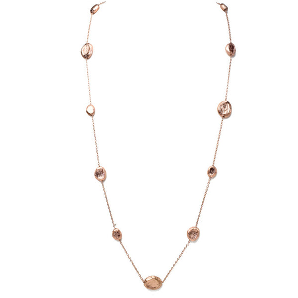 Brushed Rose Gold Beaded Necklace
