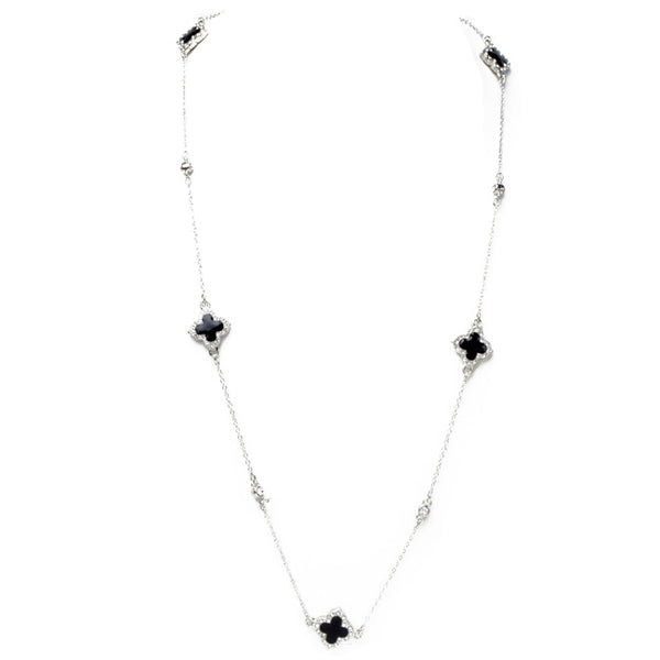 Silver & Black Onyx Cubic Zirconia Clover Necklace