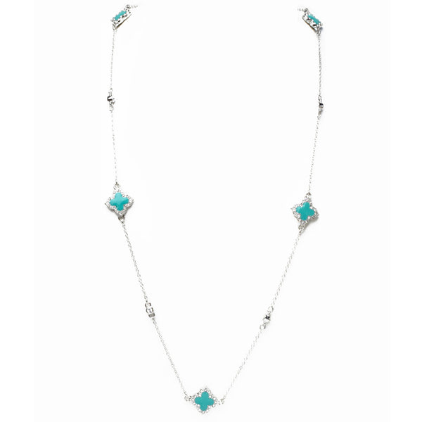 Silver & Turquoise Cubic Zirconia Clover Necklace