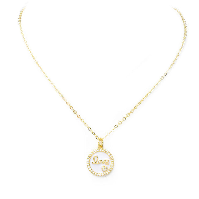 Gold Cubic Zirconia Round Love Pendant Necklace