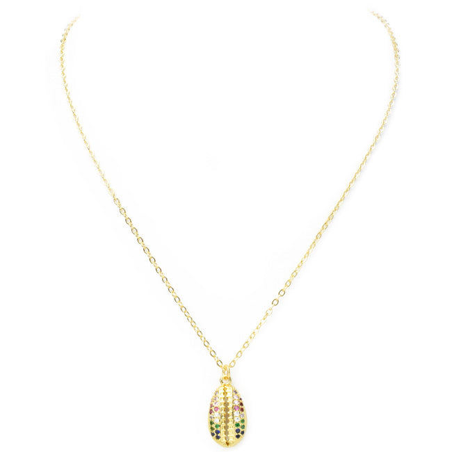 Gold Multi Color Cubic Zirconia Seashell Pendant Necklace