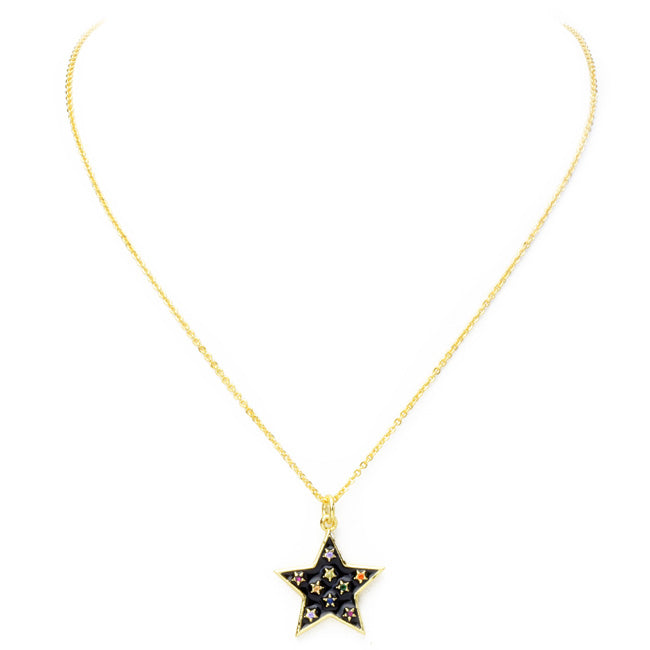 Gold Multi Color Cubic Zirconia Enamel Star Pendant Necklace