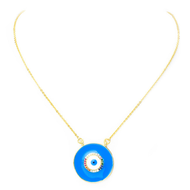 Gold Multi Color Cubic Zirconia Round Eye Pendant Necklace