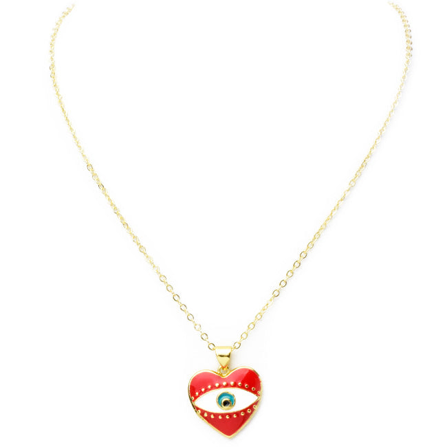 Gold Enamel Heart Pendant Necklace