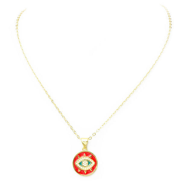 Gold Cubic Zirconia Round Eye Pendant Necklace