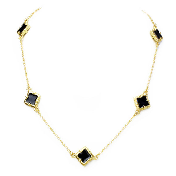 Gold & Black Onyx Clover Necklace