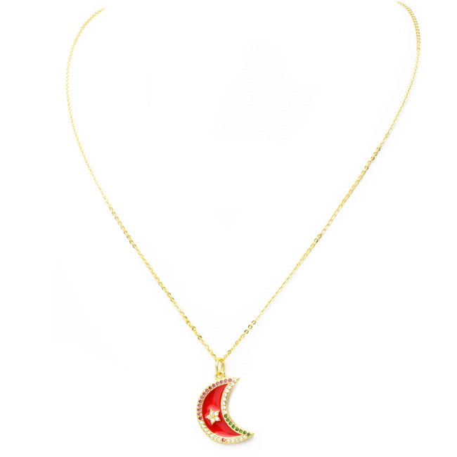 Gold Multi Color Cubic Zirconia Moon Pendant Necklace