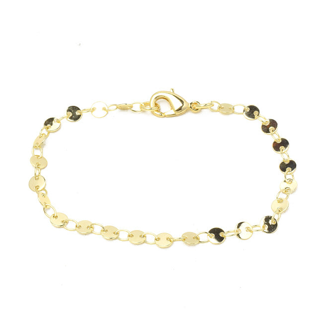 Gold Plated Disc Chain Bracelet