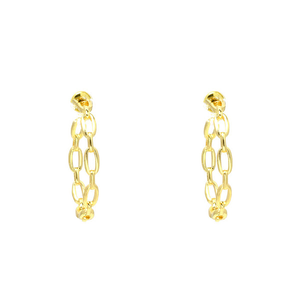 Gold Filled Linked Chain Hoop Earring