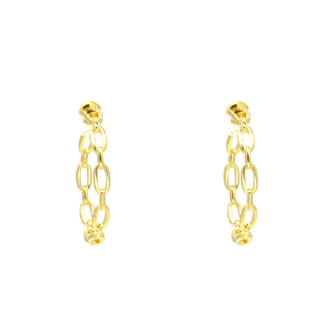 "1.25"" Gold Filled Linked Chain Hoop Earring"