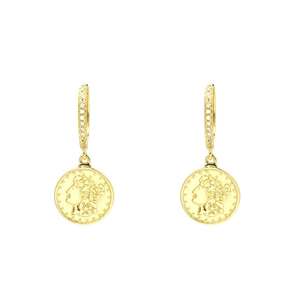 Gold Cubic Zirconia Coin Dangle Earring