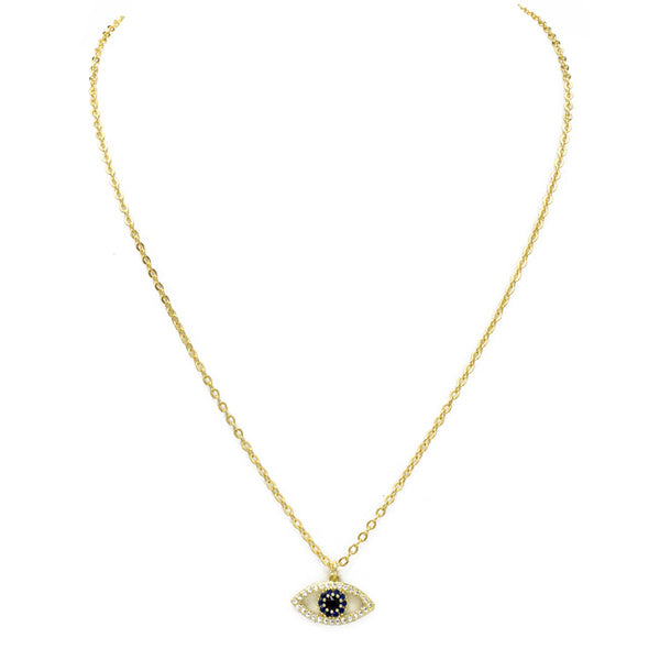 Gold Cubic Zirconia Evil Eye Pendant Necklace