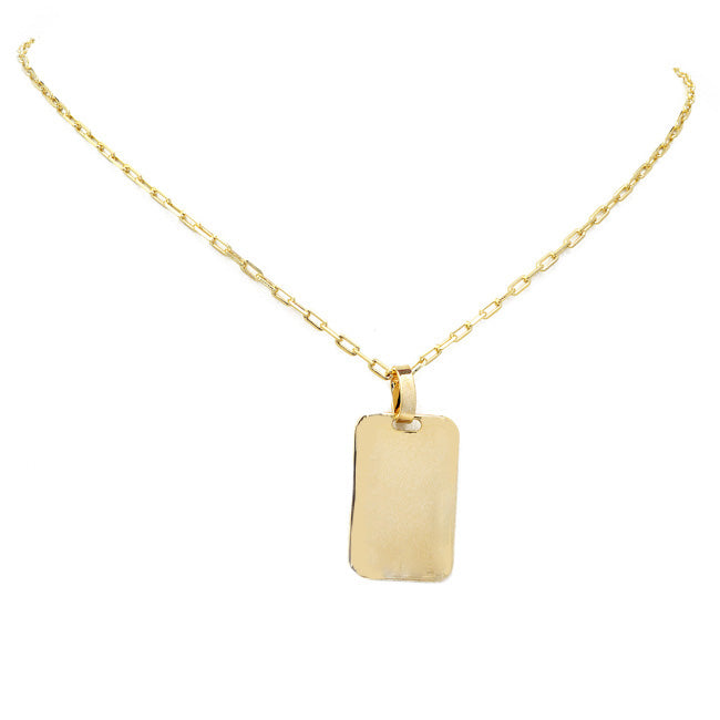Gold Filled Linked Chain Necklace with Rectangular Pendant