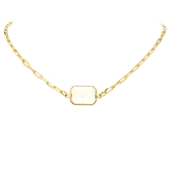 Gold Link Chain Necklace with Square CZ Pendant