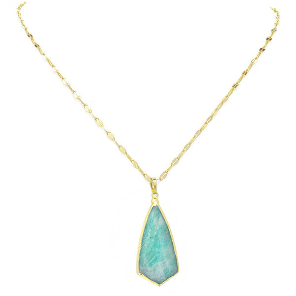 Gold Semi Precious Pendant Necklace