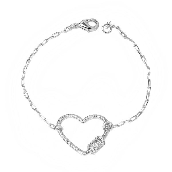 Silver Linked Chain Bracelet with CZ Heart Station