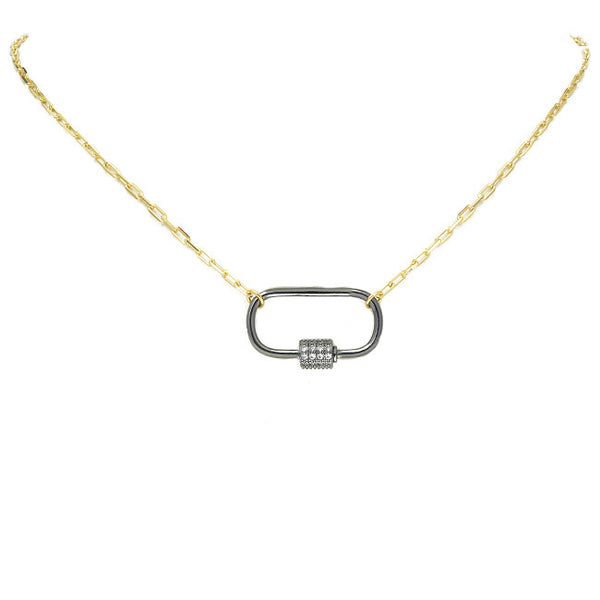 Gold Linked Chain Necklace with Gunmetal CZ Station