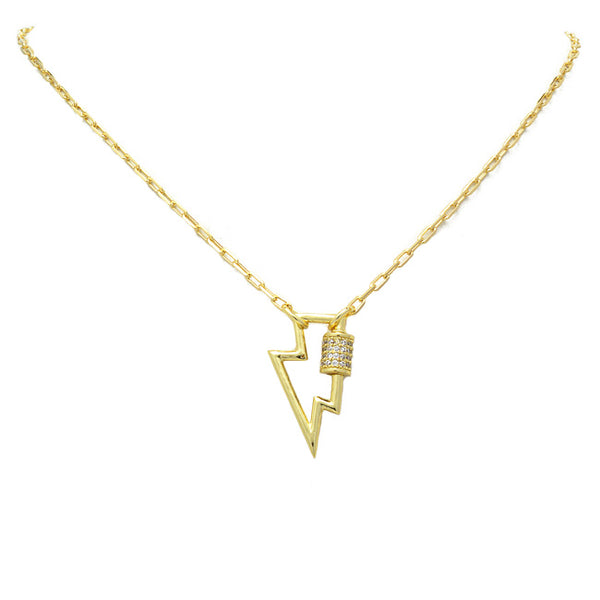 gold cz lightning bolt necklace