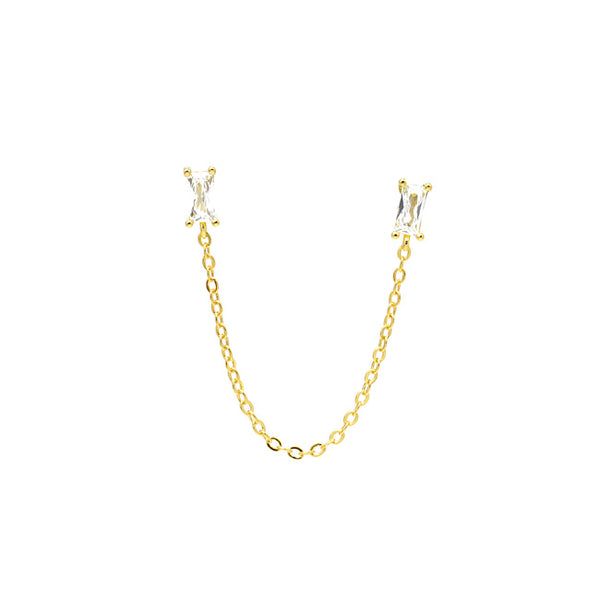 Gold Cubic Zirconia Double Post Earring