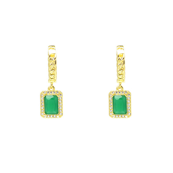 Gold Green CZ Dangle Earring