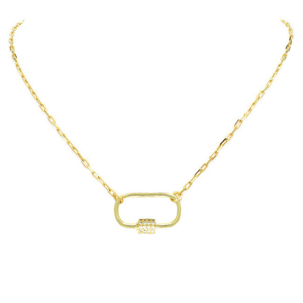 Gold Linked Chain Necklace with CZ Station