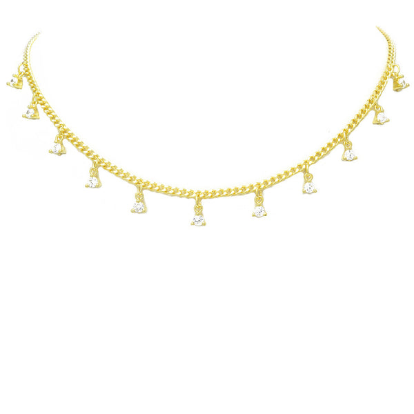 Gold Cubic Zirconia Charm Necklace