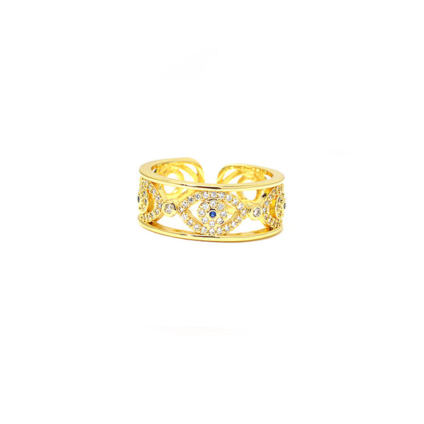 Gold Cubic Zirconia Evil Eye Adjustable Ring