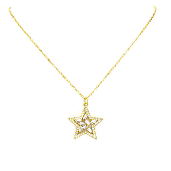 Gold Cz Star Pendant Necklace