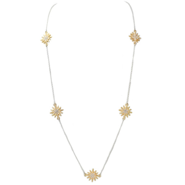 Two Tone Cubic Zirconia Starburst Necklace